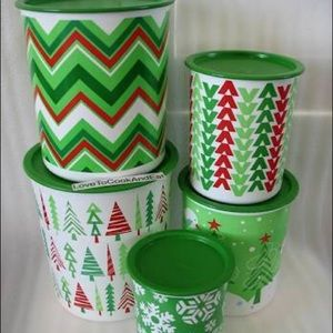 Brand New Tupperware Jolly Holiday Canister Set